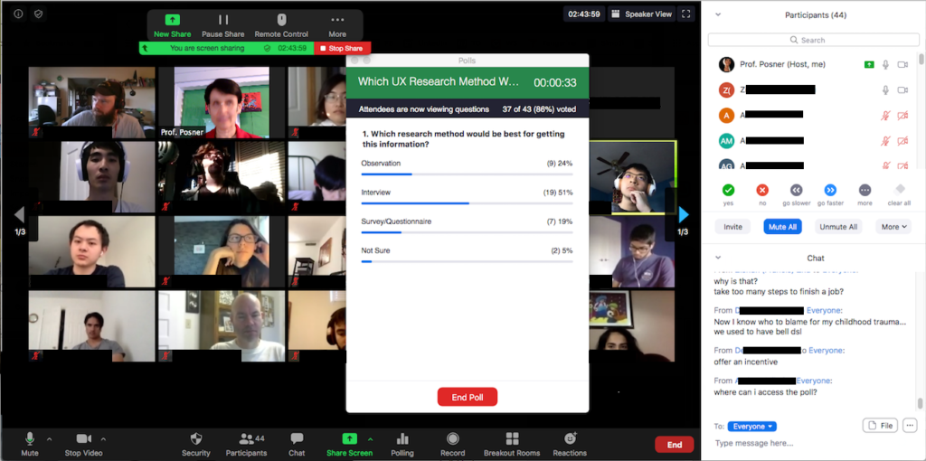 Zoom window showing Host's view of Zoom Poll, 86% complete, and poll results. Top right is Participants List with Nonverbal feedback buttons. The bottom right is the Chat window.