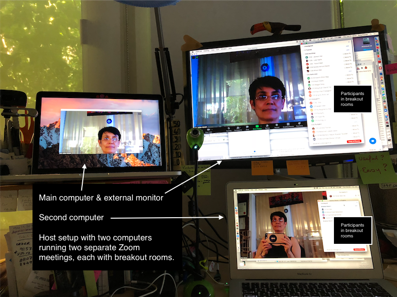 My Computer Displays Setup showing two computers running two Zoom meetings with participants in breakout rooms. This is used for complex setups like the workshop described below. For normal classes, one laptop with an external monitor is sufficient.